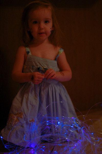 Both Ainsley and Niamh are absolutely in love with the fiberoptic star ceiling I made.  Niamh spent a very long time (especially for a two year old!) studying the cables and delighting when they changed colors.