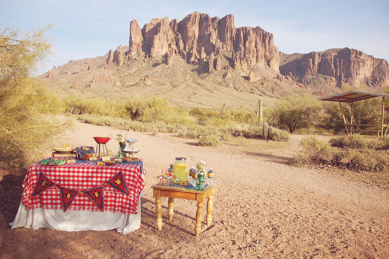 No need for a backdrop with a view like this!  I did the shoot at Lost Dutchman State Park, and inspired by its gold mining history, I took the western BBQ party in an old west/gold rush kind of direction.  Denim, gingham, pie tins for plates, and more.
