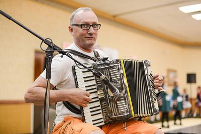 Pat King at the accordian