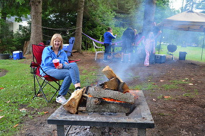It was a cold and rainy 4th of July.  Rain is over but it wasn't warm so the fire felt good.