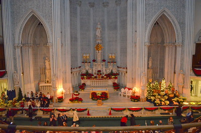 St. John's Altar from the second floor balcony just before Christmas eve mass.