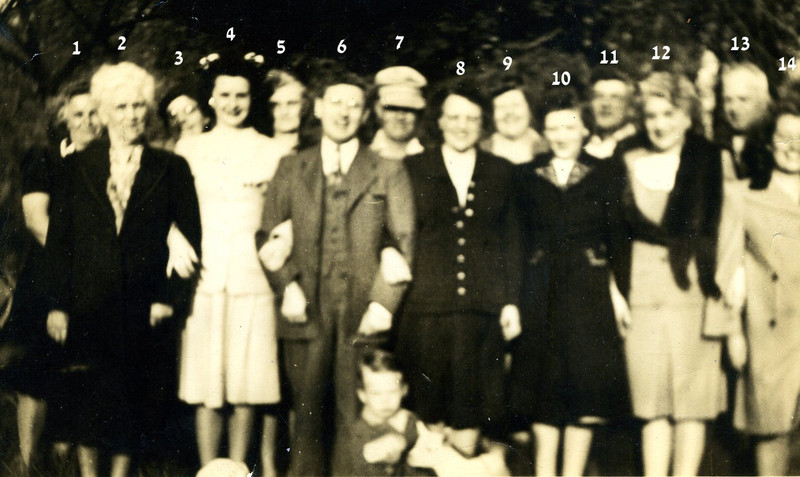 Here are our best guesses...but who could the little boy in the front be?<br /> <br /> 1  Mildred Russell Cowling<br /> 2  Susan Gifford Russell<br /> 3  Marion Russell<br /> 4  Mildred Conway<br /> 5  Elizabeth Russell Tripp<br /> 6  George Bessette<br /> 7  Louis Russell<br /> 8  Elsie Russell Kelley<br /> 9  Irene Russell<br /> 10  Marjorie Kelley Bessette<br /> 11  Henry Cowling Sr.<br /> 12 Mrs. Bessette<br /> 13  Taylor Russell<br /> 14  Dorothy Cowling Searles