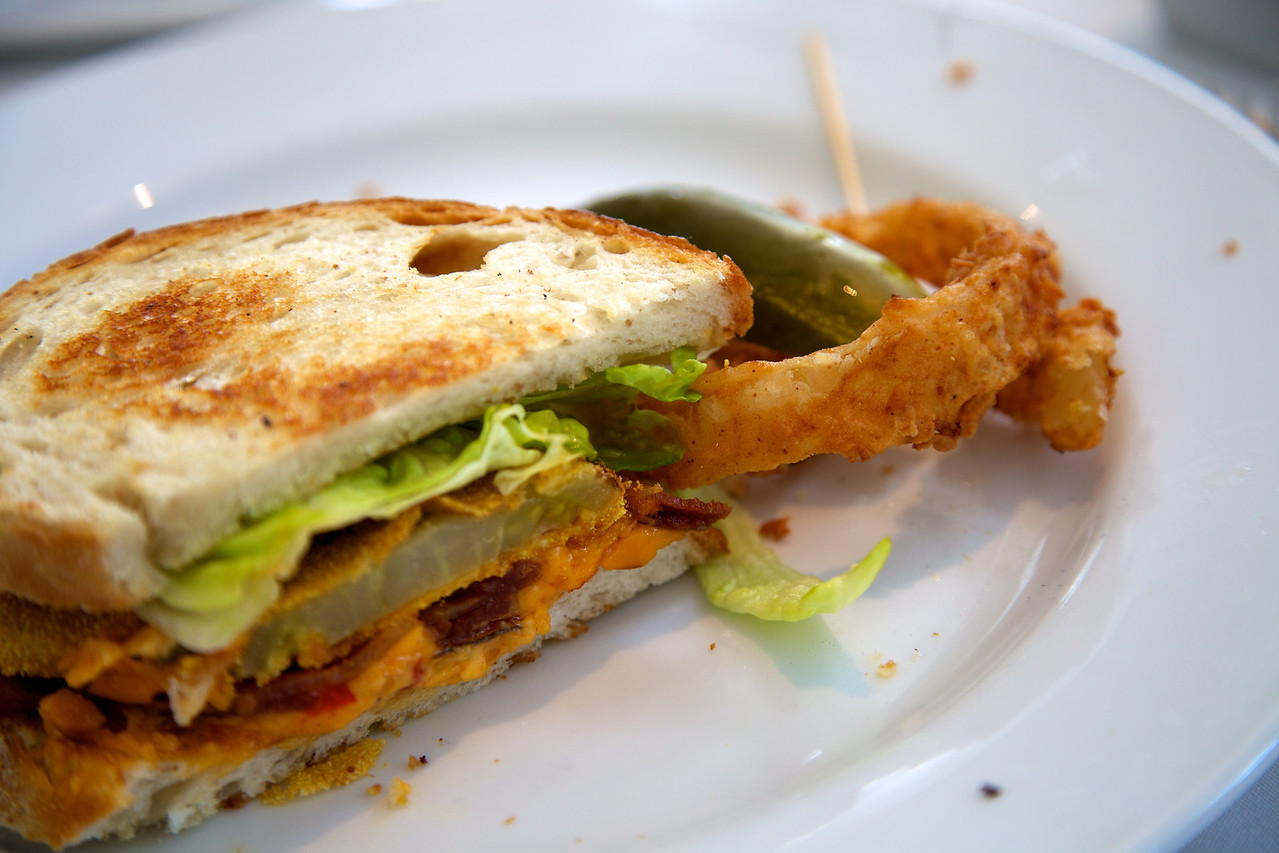 Hattie's in the Bishop Arts District of Dallas serves up the most delicious fried Green tomato, Pimento cheese and applewood smoked bacon sandwich. YUM!