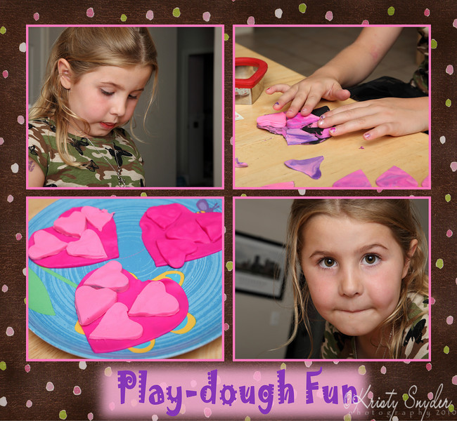 We had fun creating things with play-dough on Saturday night...  there is something really yummy about heart shaped play-dough cookies.  :)