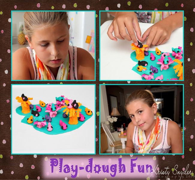 Our artist, stops at nothing.  Her idea of a play-dough aquarium...