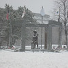 Massachusetts Korean War Memorial standing post during the storm