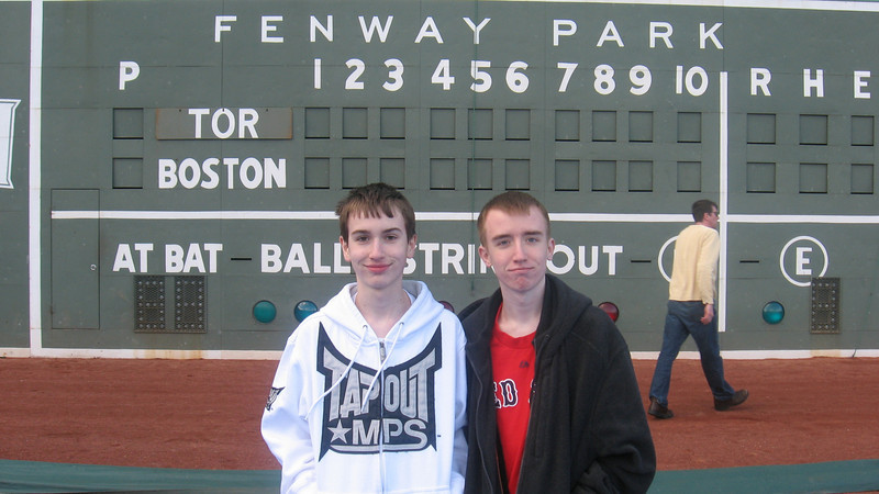 Tommy and Eric in front of the scoreboard