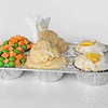 More of Tiffany's creative cupcake creations...   These were for Thanksgiving.<br /> Get it..  turkey leg, potatoes and gravy, and peas/carrots...<br /> <br /> Ll candy on top of course..  think now and laters cut into pieces, and skittles.....