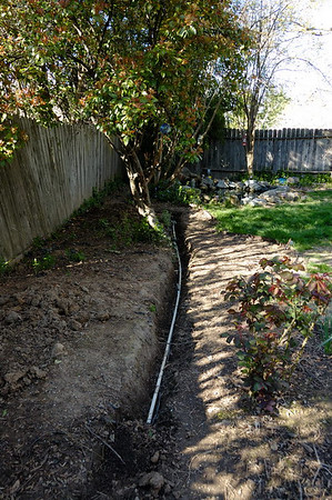 The ditch for the sprinkler and electrical lines