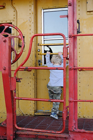 Climbing on the caboose