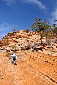 Climbing up the sandstone