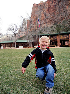 On the lawn in front of the Zion Lodge