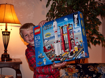 Lego rocket launch.  He built this all by himself.