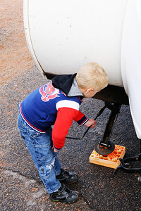 Helping to setup the trailer