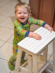 Pushing the stool
