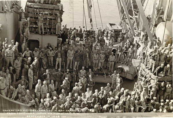 Group photo of Haverford Victory Ship returnees coming into San Francisco