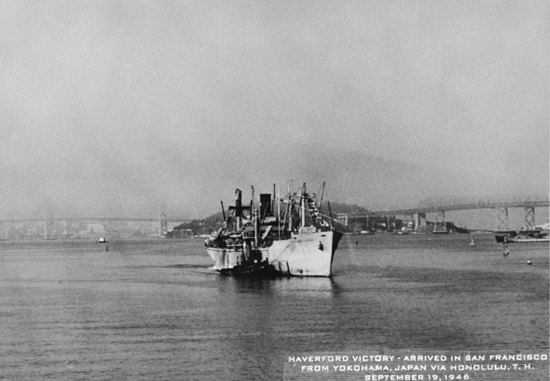 The Haverford Victory Ship arriving in San Francisco, Sept 19, 1946