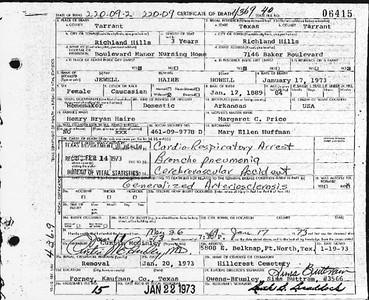 Grandma's death certificate