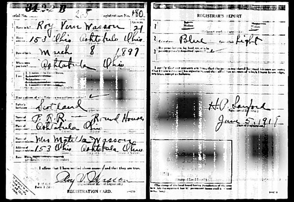 Roy Vern Wasson's Army registration, 1918