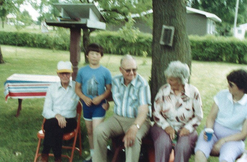 Badly out-of-focus pic of Dan with his great-great uncles Dewey (Red) and Rhoder (Press) Urie and his great-great aunt Lorena (Tone) Urie.