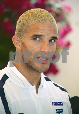 David James at press conference with the England National Squad at La Manga Club, May 2001