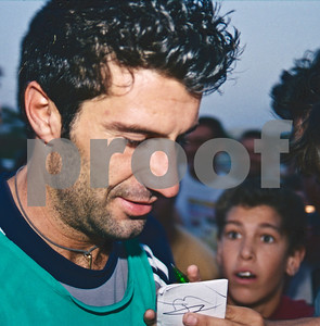 Luís Figo signing for fans at La Manga Club, 20th August 2000