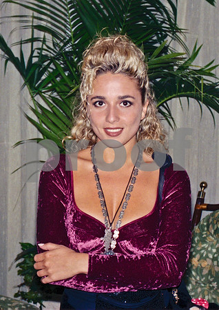 Marta Sánchez, vocalist from Olé Olé visiting the original La Manga Club Hotel, October 1989