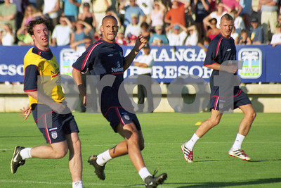 Robbie Fowler, Rio Ferdinand and David Beckham training with the England National Squad at La Manga Club, May 2001