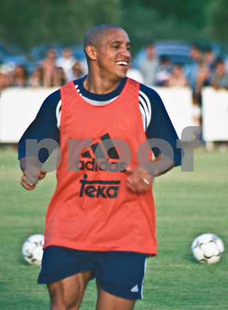 Roberto Carlos training with the Real Madrid at La Manga Club, 20th August 2000