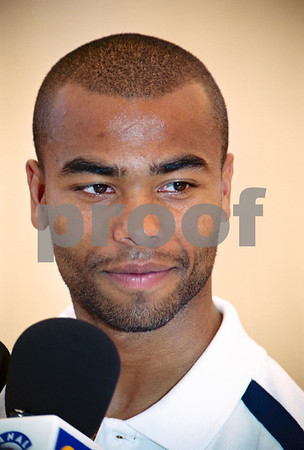 Ashley Cole at press conference with the England National Squad at La Manga Club, May 2001