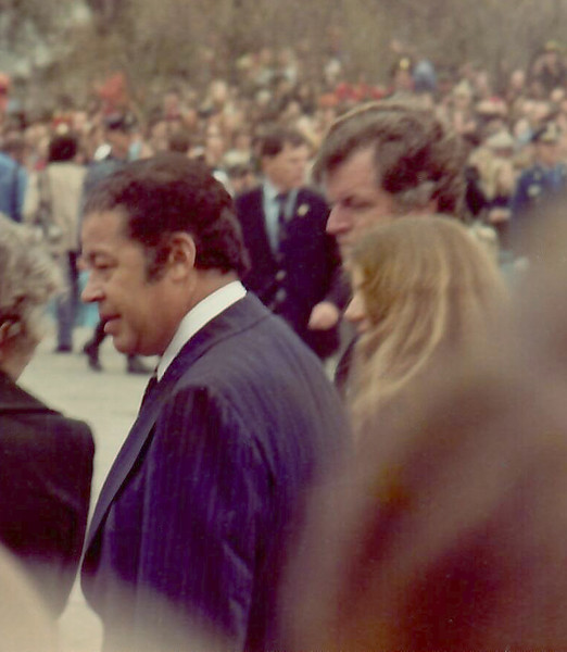Caroline Kennedy with Massachusetts Senators Ed Brooke and her uncle, Ted Kennedy