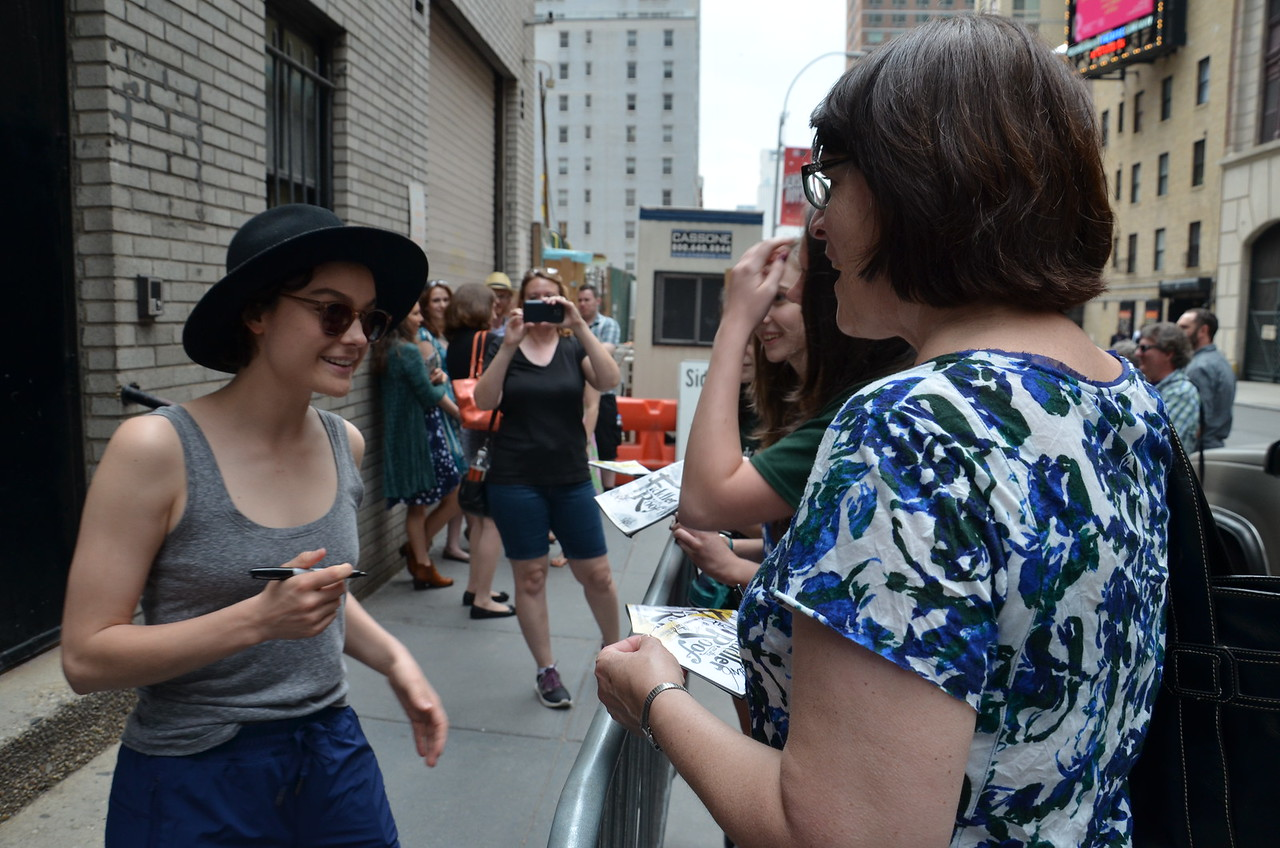 """Melanie Moore, """"Chava,"""" in """"Fiddler on the Roof"""" signing autographs at the Broadway Theatre, NYC, 4 June 2016"""