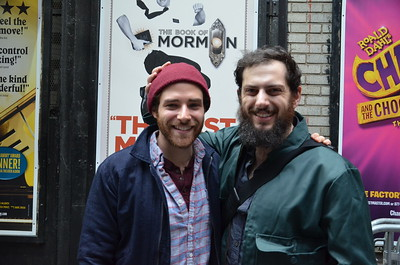 "Ben Rappaport (Perchik), with Michael Bernardi (Mordcha) in the 2016 revival of ""Fiddler on the Roof"""