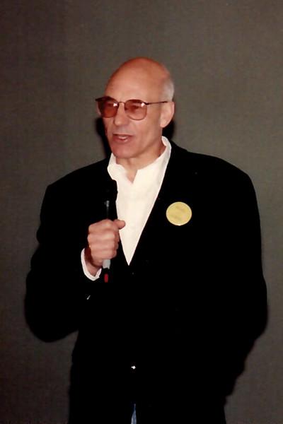Patrick Stewart addressing a Sci-Fi convention crowd