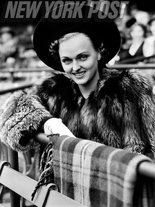 Dorothy Arnold, actress and wife of Joe DiMaggio, at the ballpark. 1939