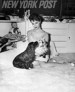 Nancy Berg plays with her puppy. 1955
