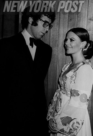 Elliot Gould and Natalie Wood attend the New York Film Festival at the Alice Tully Theater. 1969