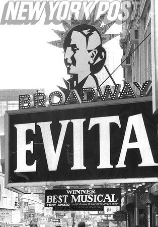 "Marquee of the popular Broadway musical ""Evita"" 1980"