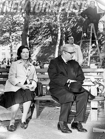 "Geraldine Fitzgerald and Rod Steiger in ""The Pawnbroker"", scene shot in Harlem Park. 1963"