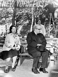 "Geraldine Fitzgerald and Rod Steiger in ""The Pawnbroker"", scene shot in Harlem Park. 1963"