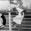 Diana Dors arrives to NYC on the Queen Elizabeth. 1956