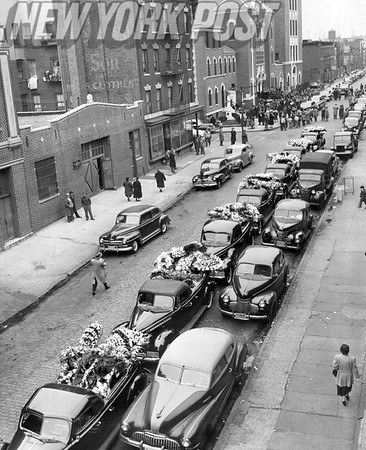 The Mafia leader, Charlie Fischetti had flower burdened cars in his funeral procession 1951.