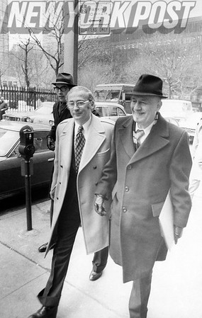 Nursing home owner, Bernard Bergman, arrives for his hearing with attorney, Irving Seidman. 1975