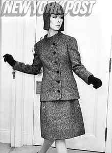 A smart outfit by James Galanos,  American fashion designer and one of the world's foremost 20th-century couturiers.