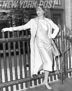 Lisa Fonssagrives Modeling Beautiful White Dress and Coat In New York. 1955.