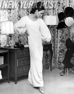 Chic white dress by James Galanos,  American fashion designer and one of the world's foremost 20th-century couturiers.