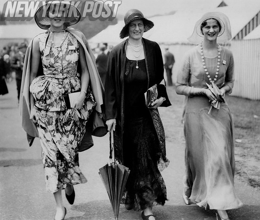 Three women display New York City fashion in the 1930's