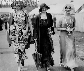Three women display New York City fashion in the 1930's