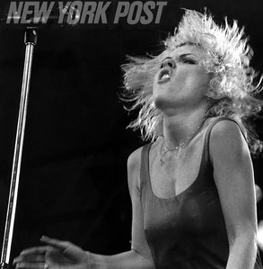 Debbie Harry performing at a Blondie Concert in Central Park. 1979