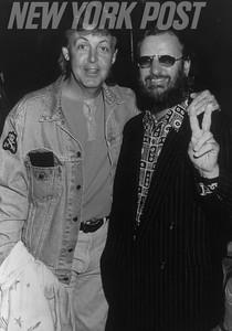 Beatles members, Paul McCartney and Ringo Starr. 1983